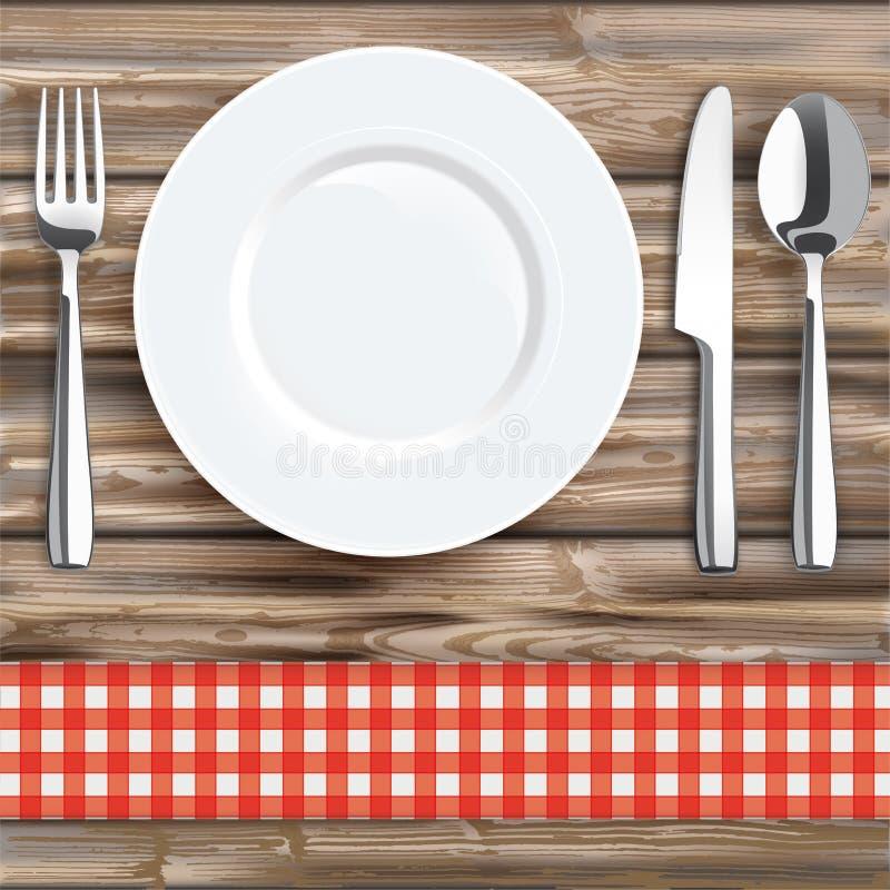 Plat de cuillère de fourchette de couteau de tissu vérifié par rouge en bois usé illustration de vecteur