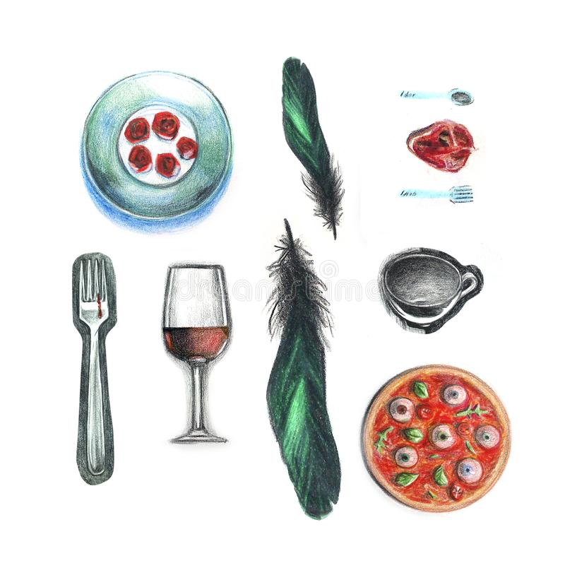 Plat de fourchette des plumes par tasse de vin de pizza faite à partir du coeur peint avec les crayons colorés sur le dessin blan illustration libre de droits