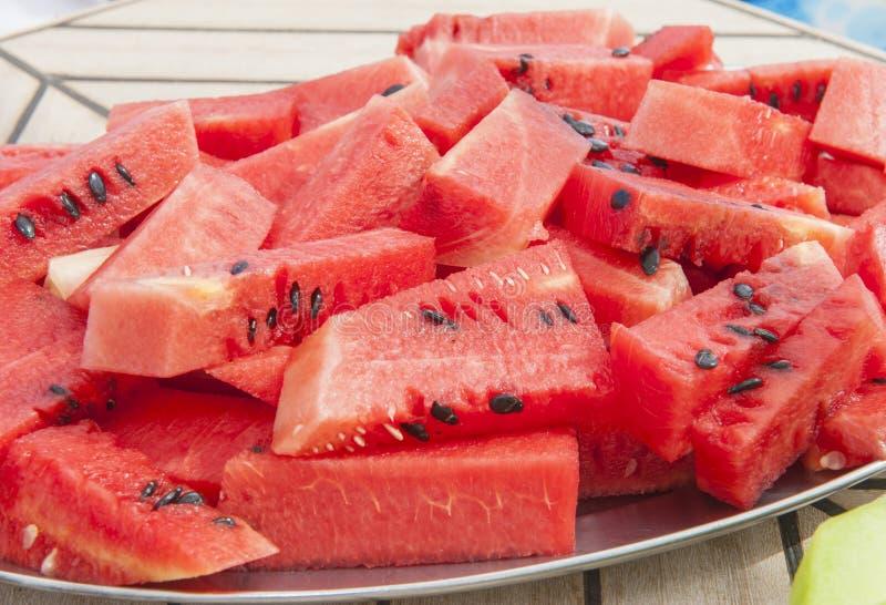 Plat de fruit frais de pastèque image libre de droits