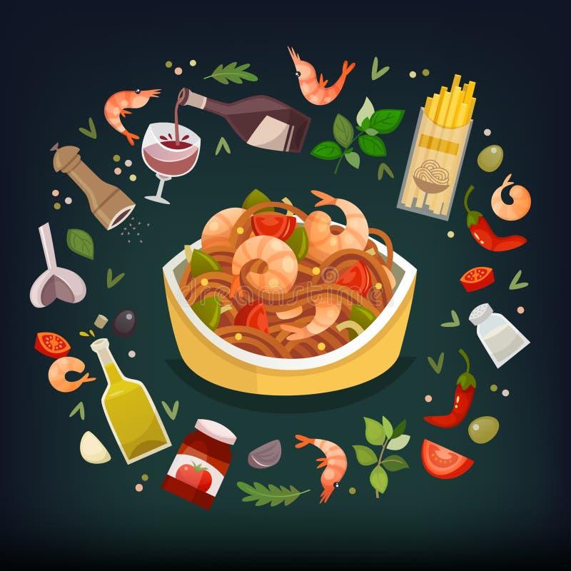 Plat de marinara de spaghetti illustration libre de droits