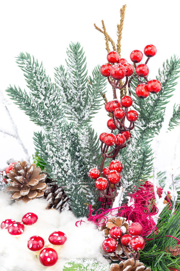 Plat de Noël avec la décoration de champignons de baies image stock
