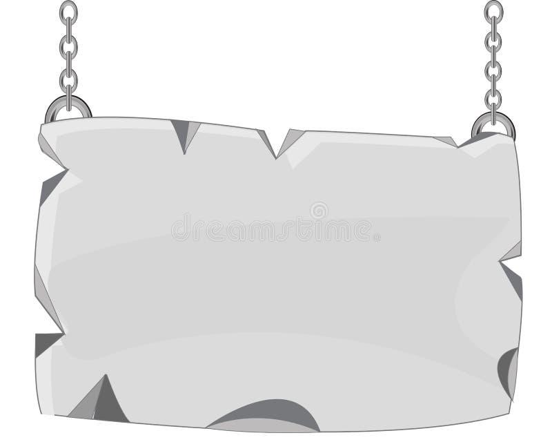 Plat de pierre sur la chaîne illustration de vecteur