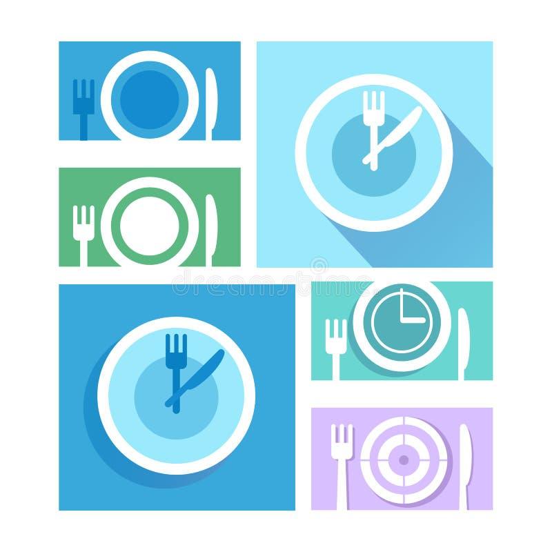 Plat de plat avec des fourchettes et des icônes de couteaux En travers symbo de couverts illustration de vecteur