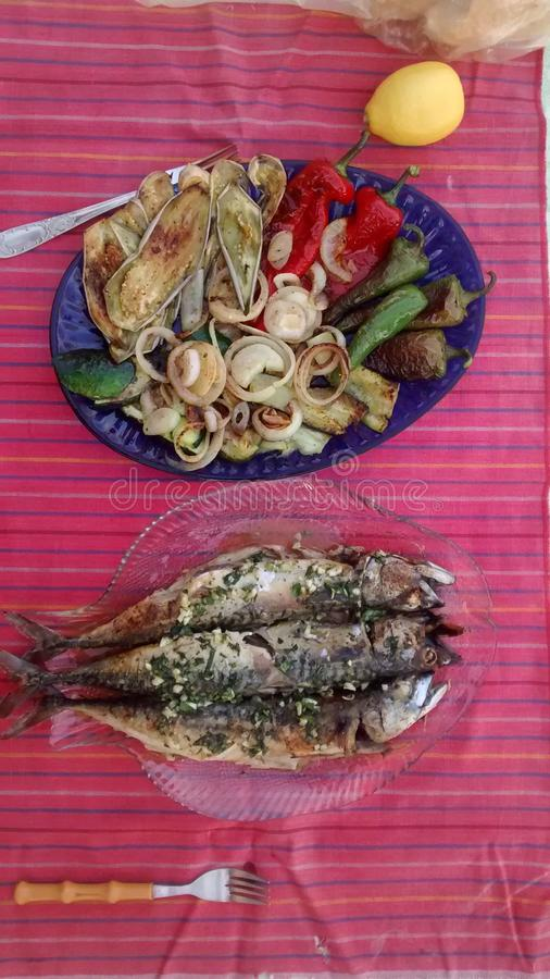 Plat de poisson images stock