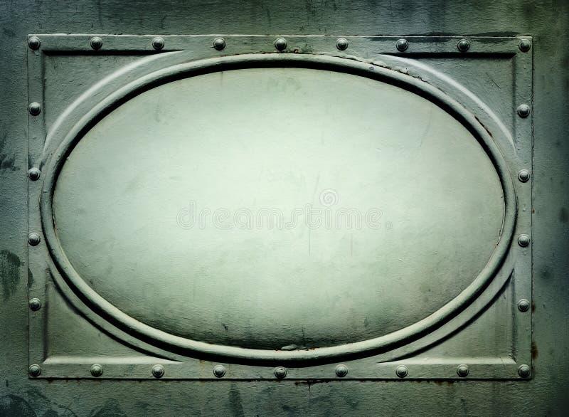 Plat de signe en métal avec le cadre ovale photos libres de droits