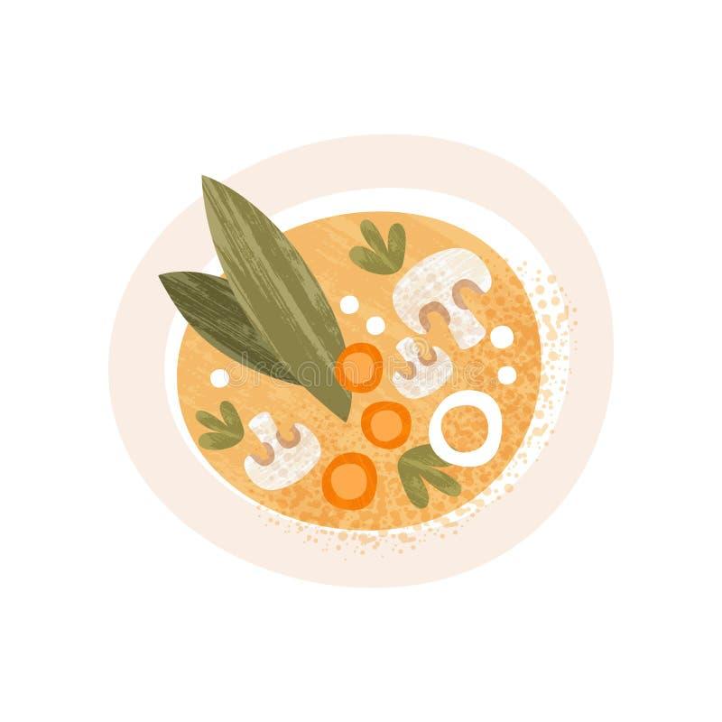Plat de soupe savoureuse avec les champignons et la carotte, vue supérieure Paraboloïde appétissant Icône plate de vecteur avec l illustration de vecteur