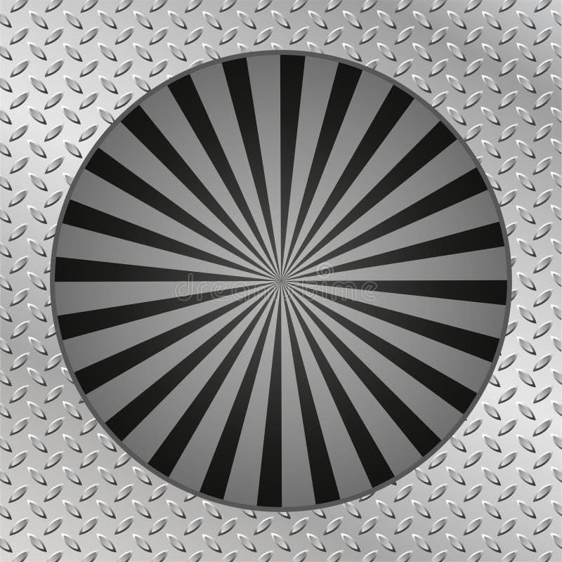 Plat de texture en métal Rétro noir de rayon de soleil dans le style de vintage illustration stock