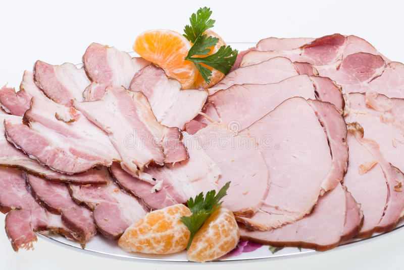 Plat de viande fumée image stock