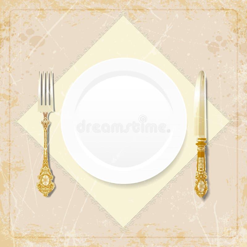 plat de vintage, fourchette, couteau, serviette Illustration de vecteur illustration libre de droits