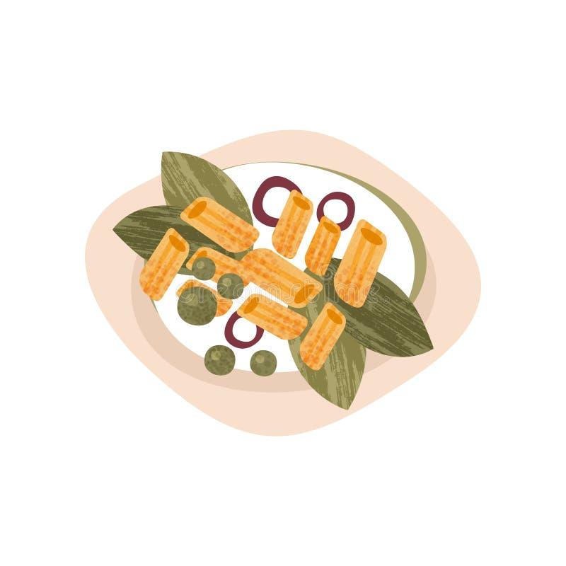 Plat des macaronis savoureux Pâtes avec des verts, des anneaux d'oignon et des pois Plat appétissant pour le dîner Icône plate de illustration libre de droits