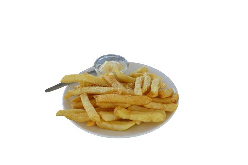 Plat des pommes frites d'isolement sur un fond blanc images libres de droits