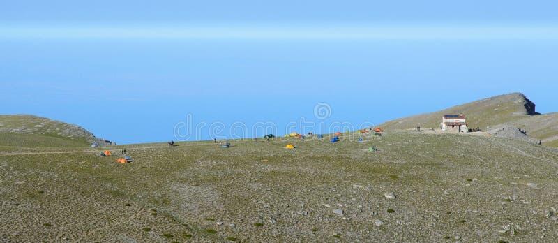 Platô dos musas de Olympus da montanha em Grécia fotos de stock royalty free