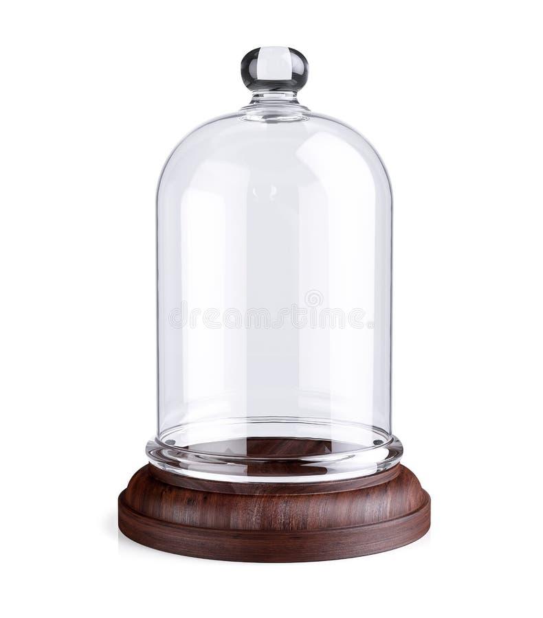 Plat en bois de dôme en verre illustration libre de droits