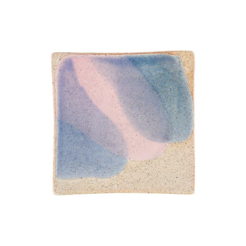 plat en céramique carré vide de nourriture d'isolement sur le blanc photographie stock