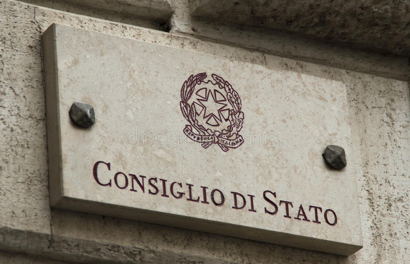 Plat en pierre d'Italian Consiglio di Stato photo libre de droits