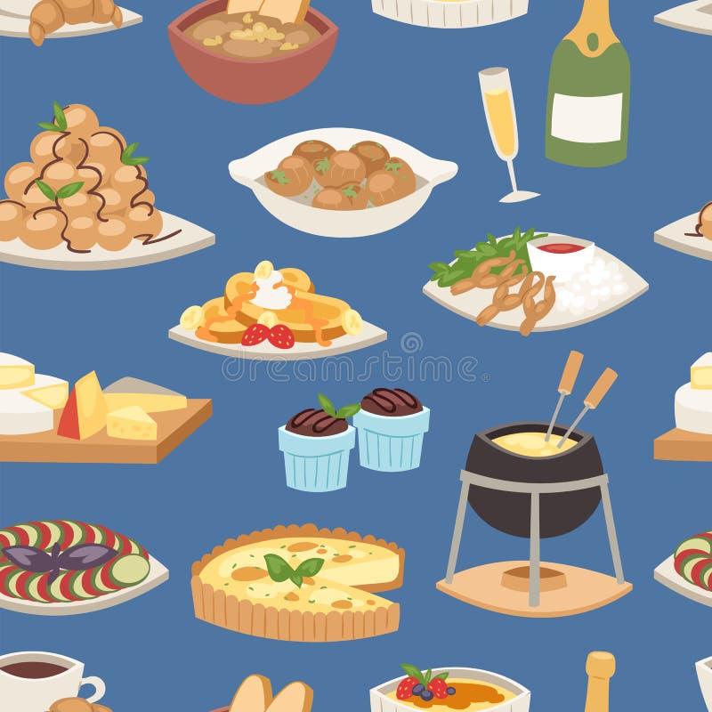 Plat gastronome de plat de nourriture de vecteur de cuisine de repas de dîner de Français continental en bonne santé délicieux tr illustration stock