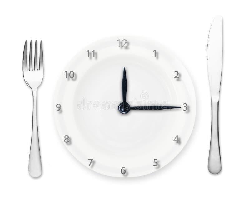 Plat - horloge avec la fourchette et le couteau images libres de droits