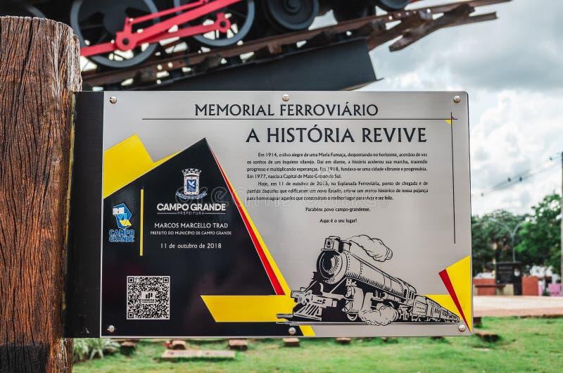 Plat instructif au sujet du Ferroviario commémoratif images stock
