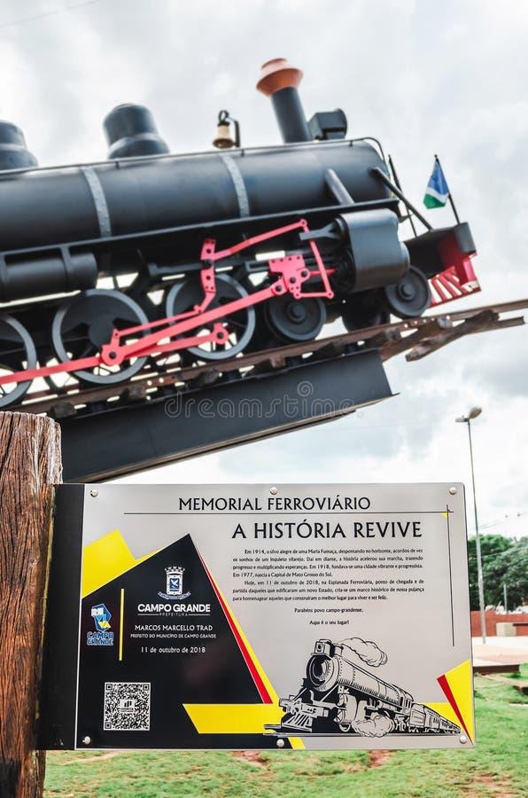 Plat instructif au sujet du Ferroviario commémoratif photographie stock libre de droits
