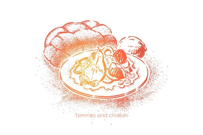 Plat israélien traditionnel, culinaire authentique délicieux, tzimmes et pain du sabbat, déjeuner savoureux, repas fait maison illustration libre de droits