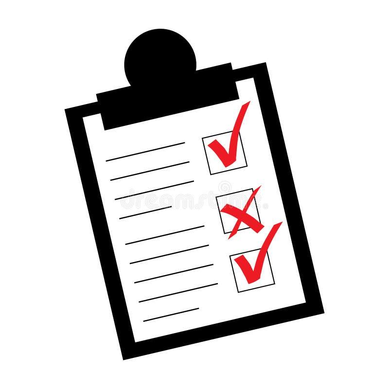 Plat, liste de contrôle/icône de presse-papiers Noir et blanc avec deux traits de repère rouges et une croix illustration stock
