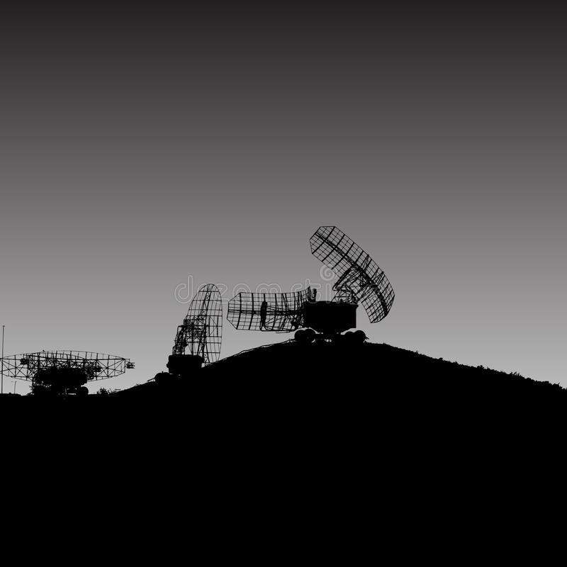 Plat militaire de radar de silhouette Illustration de vecteur illustration stock