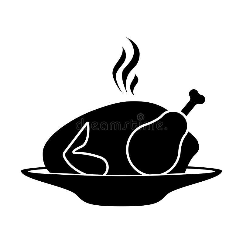 Plat monochrome de silhouette avec le rôti chaud de poulet illustration libre de droits