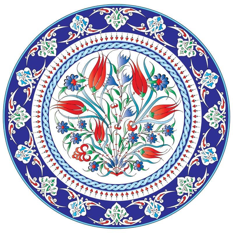 Plat peint floral décoratif illustration de vecteur