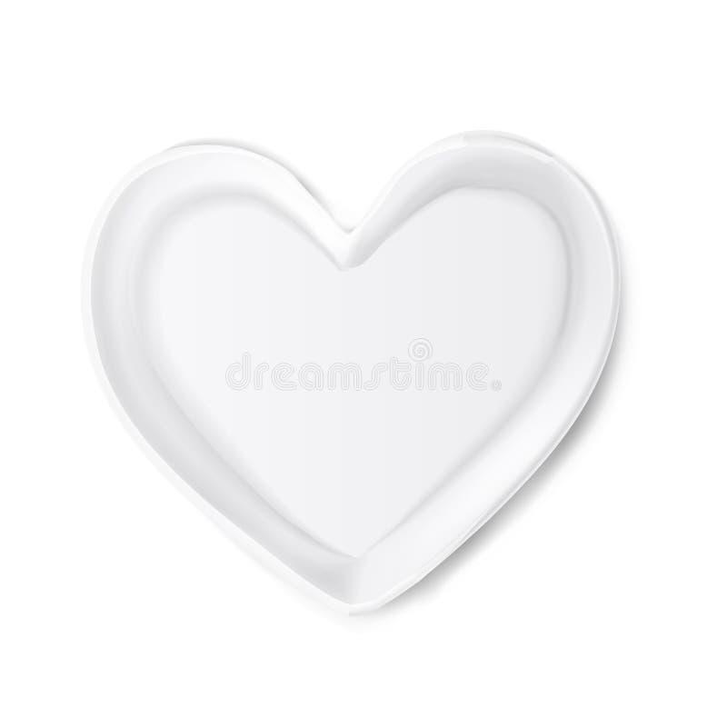 Plat réaliste de vecteur dans la forme du coeur illustration libre de droits