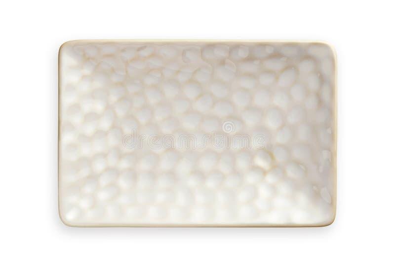 Plat rectangulaire blanc avec le modèle approximatif, plat en céramique vide dans la forme rectangulaire, vue d'en haut d'isoleme photo stock
