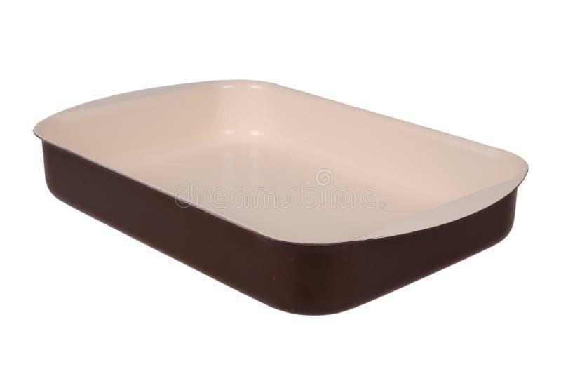 Plat rectangulaire en céramique de cuisson de Brown images stock