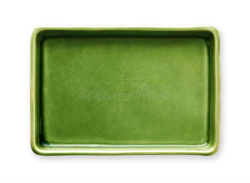 Plat rectangulaire vide, plat vert de céramique, vue d'en haut d'isolement sur le fond blanc avec le chemin de coupure images stock