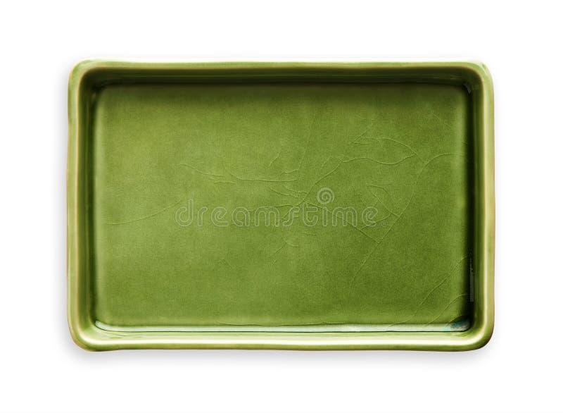Plat rectangulaire vide, plat vert de céramique, vue d'en haut d'isolement sur le fond blanc avec le chemin de coupure photo stock