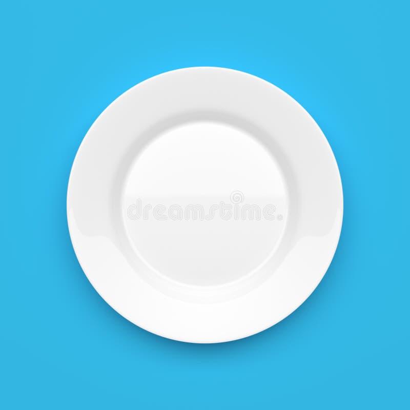Download Plat Rond En Céramique Blanc Vide Sur Le Bleu Photo stock - Image du flatware, nourriture: 56485038