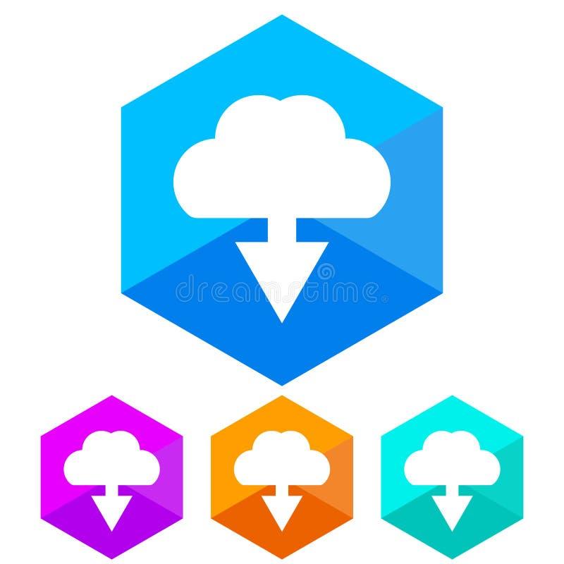 Plat, téléchargement d'hexagone d'une icône de nuage Quatre variations de couleur illustration stock