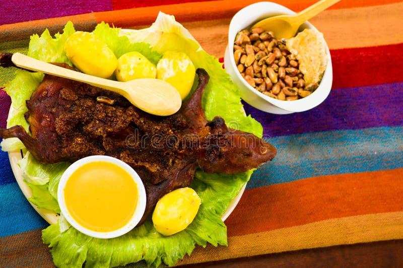 Plat traditionnel d'ecuadorian, cobaye grillé étendu sur le plat vert, pommes de terre, tostados et citrons du côté photos libres de droits