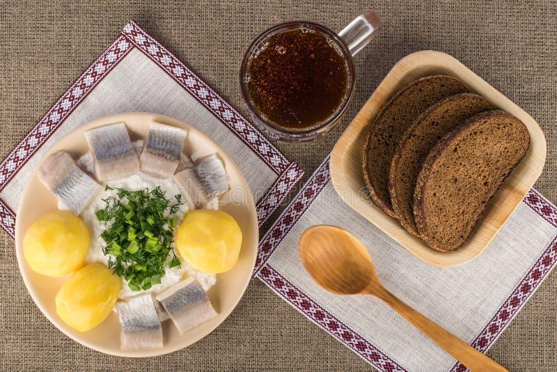 Plat traditionnel letton - fromage blanc avec les pommes vapeur, les harengs légèrement salés et les verts photographie stock