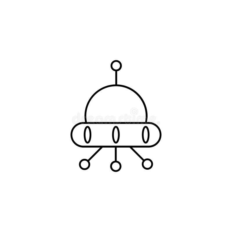 Plat, UFO, icône de vaisseau spatial illustration de vecteur