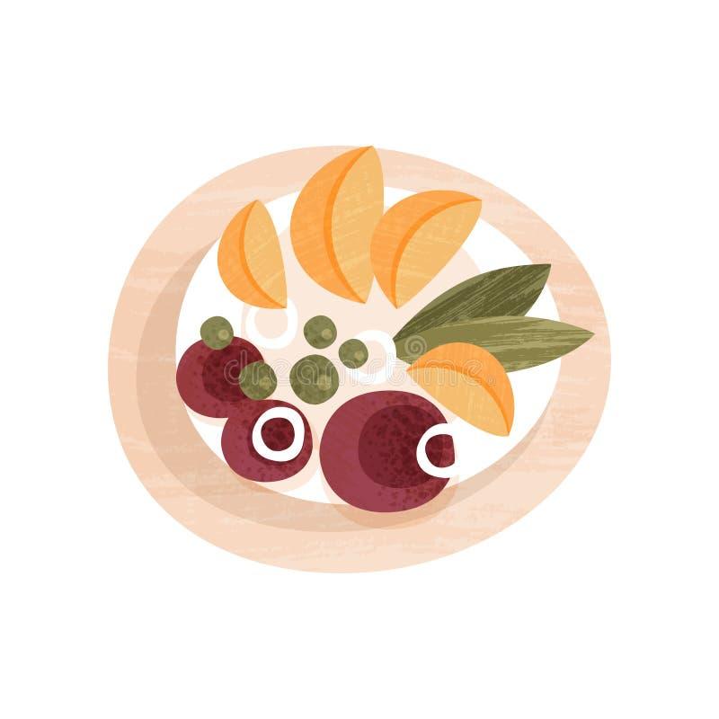 Plat végétal savoureux avec la betterave et les tranches bouillies de pomme de terre frite Dîner appétissant Icône plate de vecte illustration stock