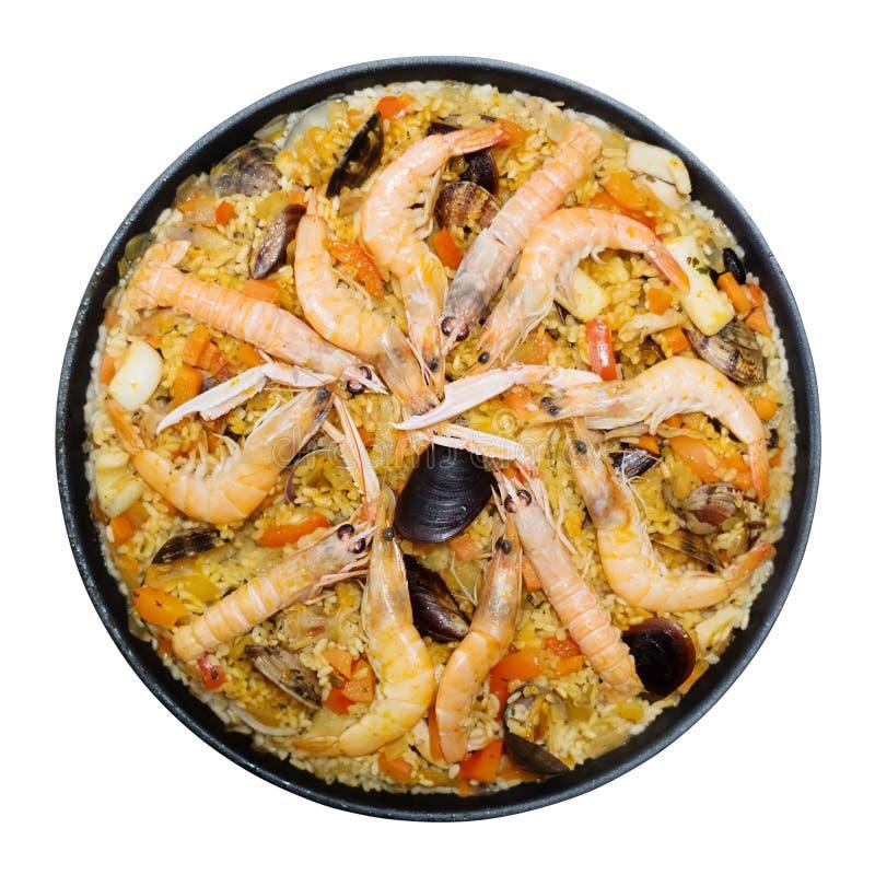 Plat Valencian de riz avec la Paella de fruits de mer d'isolement photo libre de droits