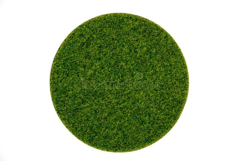 Plat vert rond artificiel de mousse de gazon image libre de droits