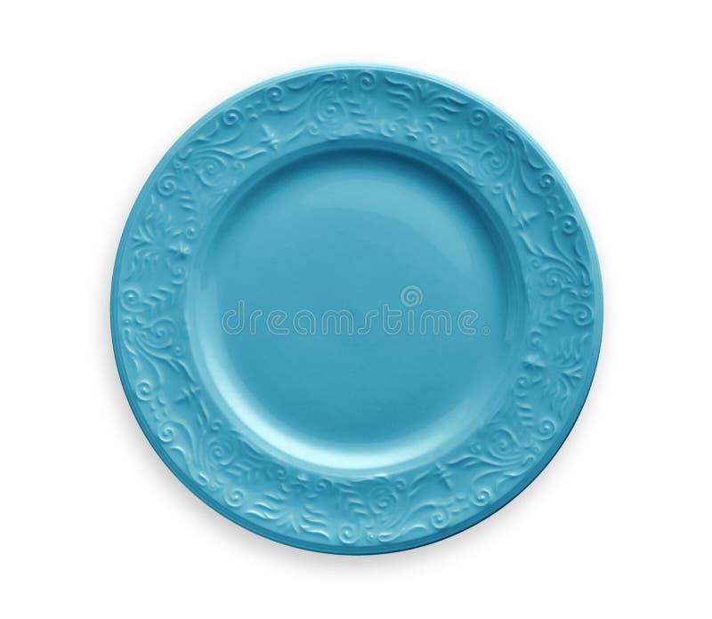 Plat vide avec le bord floral bleu de modèle, vue d'en haut d'isolement sur le fond blanc avec le chemin de coupure images libres de droits