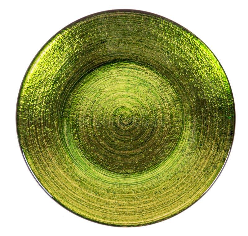Plat vitreux vide vert d'isolement sur le blanc photos libres de droits
