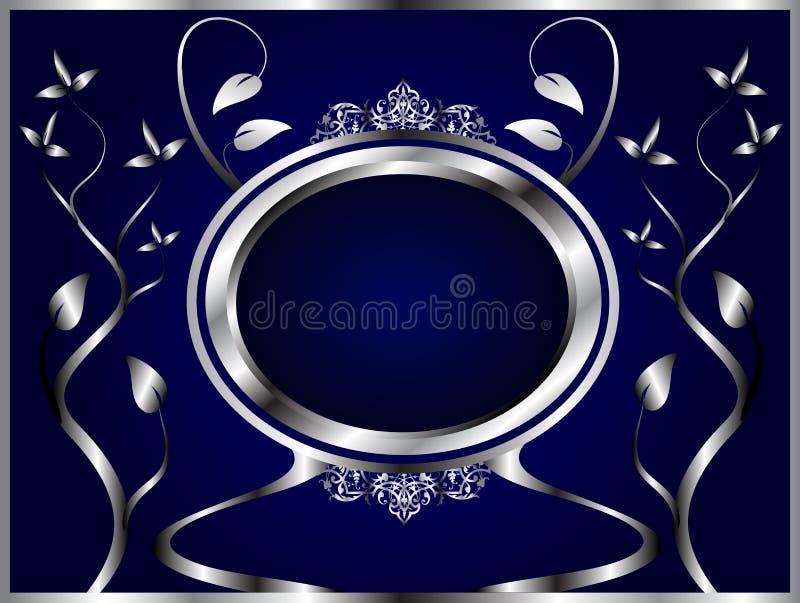 Plata abstracta y fondo floral azul ilustración del vector