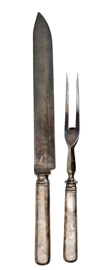Plata antigua que talla los utensilios. imagen de archivo