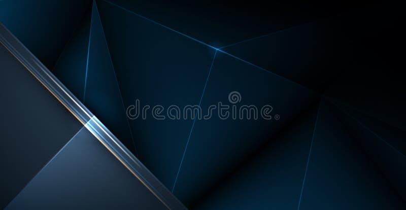 Plata baja del polígono del vector, fondo superior negro Poligonal del extracto y de plata de lujo, línea azul marino diseño del  stock de ilustración