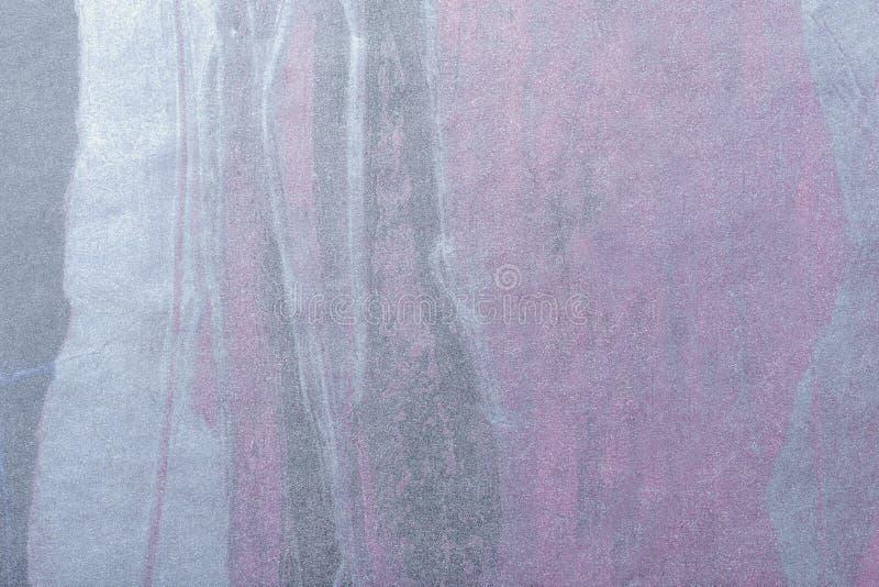Plata del fondo del arte abstracto y color púrpura Pintura multicolora en lona imagen de archivo