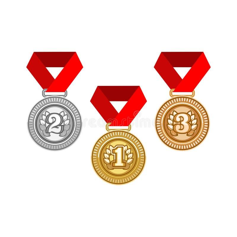 Plata del oro y medalla de bronce libre illustration