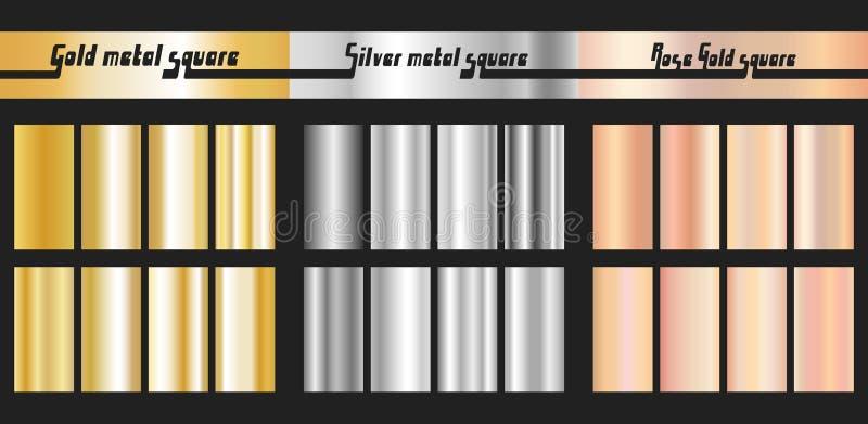 Plata del oro y pendiente color de rosa del oro ilustración del vector