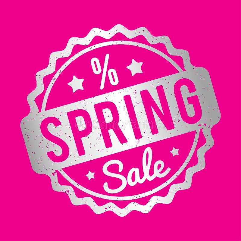 Plata del sello de goma de la venta de la primavera en un fondo rosado stock de ilustración
